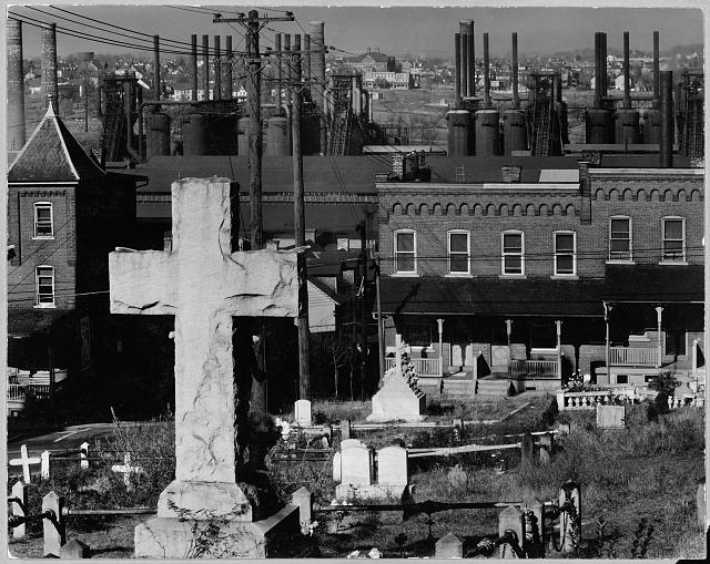 Walker Evans Bethelem Graveyard and Steelmill Pennsylvania 1935