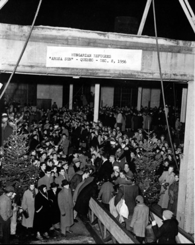 Hungarian refugees arriving in Canada, aboard the Arosa Sun,  Quebec City, December 8, 1956